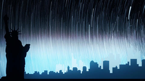 The starry night scene of the city at night. Loopable Animation