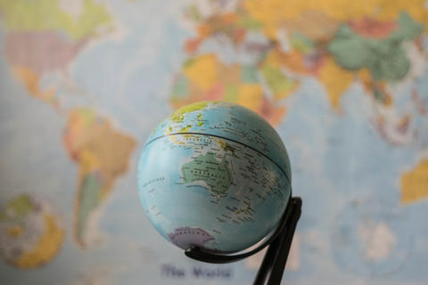 Australia map on a globe Photo