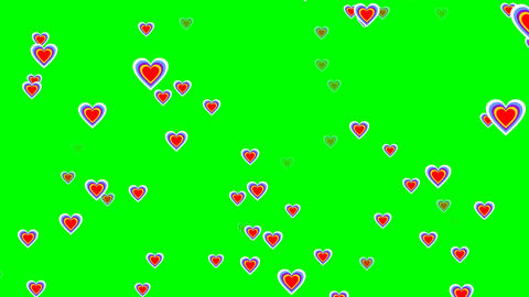 Flying cheerful hearts on green screen. Cute love video… Stock Video Footage
