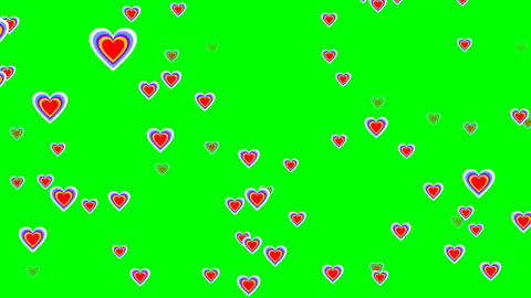 Flying cheerful hearts on green screen. Cute love video background for party, Animation