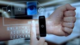 Futuristic hologram smart device technological concept CG動画素材