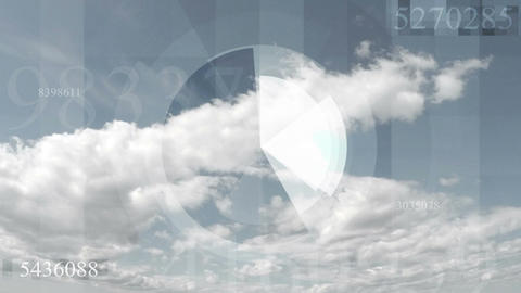 Hi-tech futuristic video animation with sky cloudscape timelapse Image