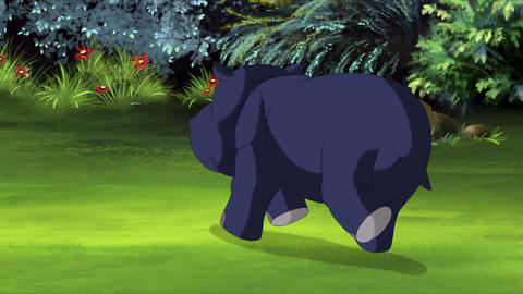 Little Blue Hippo Runs with Stop Back View Animation