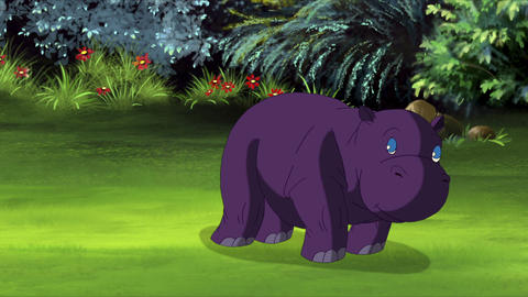 Little Violet Hippo Runs Front View Animation