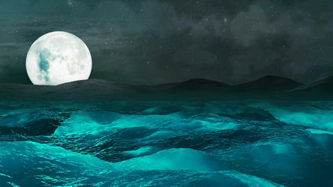 Moon over the sea storm, Loopable Abstract Background CG動画素材