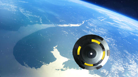 UFO is flying over the Earth, Abstract Background 画像