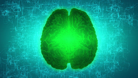 Glowing green brain wired on neural surface or electronic conductors. Artificial Image