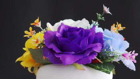 Fake flowers, colorful roses Footage