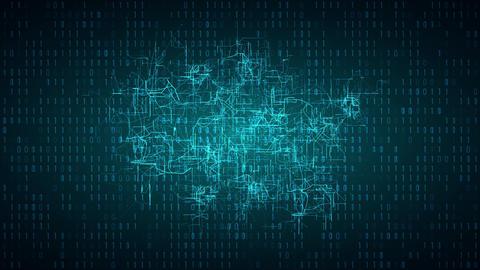 Digital connectivity, artificial intelligence and data storage concept. Emerging Animación