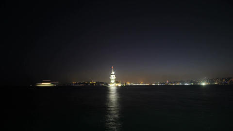 Maiden's Tower in istanbul, Turkey (KIZ KULESI - USKUDAR) 4K, Timelapse Video Filmmaterial