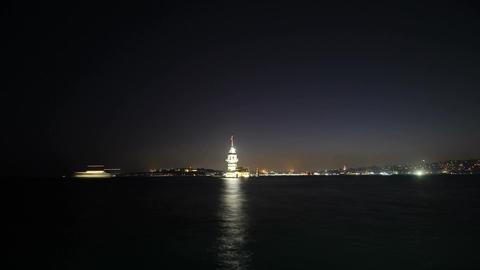 Maiden's Tower in istanbul, Turkey (KIZ KULESI - USKUDAR) 4K, Timelapse Video Archivo
