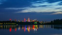 Warsaw Skyline Panorama over Vistula River Timelapse - Zoom In - Warszawa Footage