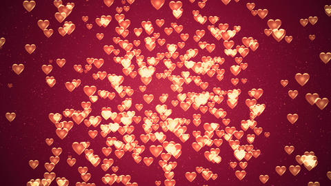 Valentine's day background, flying abstract hearts and particles Animation