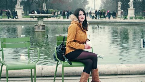 PARIS, FRANCE - DECEMBER, 31, 2016. Young woman posing against Ferris wheel Footage