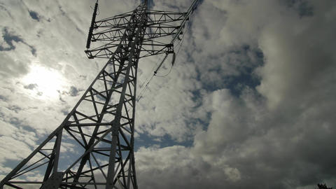 High-voltage tower with high voltage wires Footage