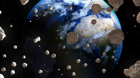 Asteroids coming close to Earth from deep space Animation