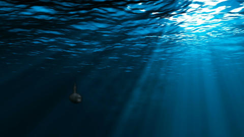 Submarine floats in a deep water, Loopable Background Animation