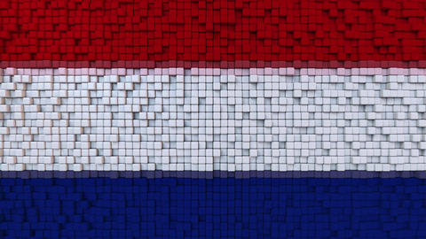 Stylized mosaic flag of the Netherlands made of moving pixels, seamless loop Footage
