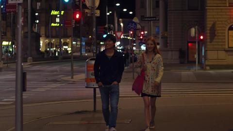 VIENNA, AUSTRIA - AUGUST 11, 2017. Empty city street crosswalk in the evening Footage