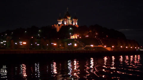 Night city of Yaroslavl Footage