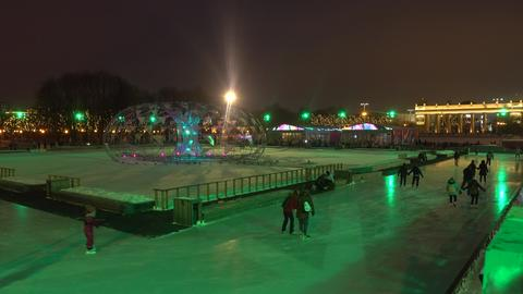 MOSCOW, RUSSIA - JANUARY, 2, 2017. Cristmas and New Year decorated skating ring フォト