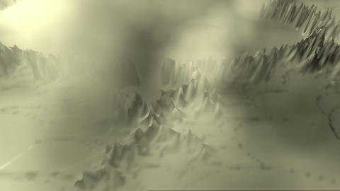 Digital 3D Animation of a fractal Landscape Stock Video Footage
