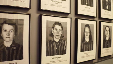 OSWIENCIM, POLAND - JANUARY, 14, 2017 Portraits of Auschwitz Birkenau female Footage