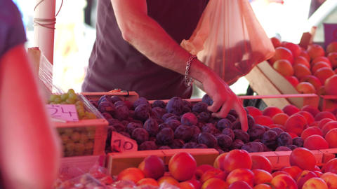 Buying plums at the marketplace Footage