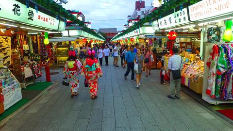 Tracking shot of Nakamise street Asakusa Tokyo Japan ライブ動画