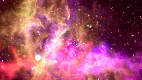 Flying through nebula, Abstract Loopable Background Animación