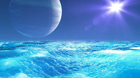 Realistic Ocean on Exoplanet, Abstract Background Animation