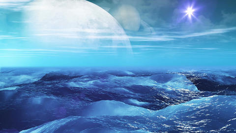 Realistic Sea on Exoplanet, Abstract Loopable Background Animation
