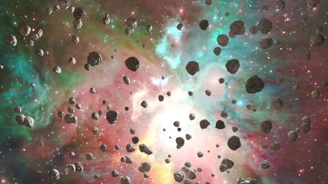 Meteors flying through nebula, Abstract Loopable Background Animation