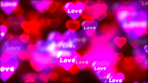 Valentine's day background, flying abstract hearts and particles Image