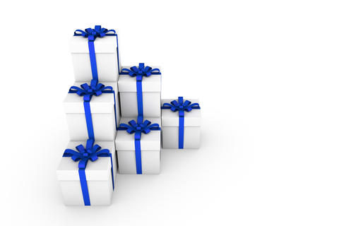 White gift boxes with blue ribbon bow Foto