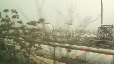 VIENNA, AUSTRIA - DECEMBER, 24 OMV oil refinery and railroad tanks. 4K video Footage
