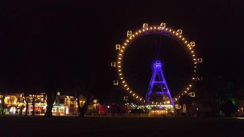 VIENNA, AUSTRIA - DECEMBER, 24 Steadicam shot of famous Prater Wiener Riesenrad Footage