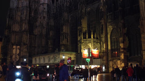 VIENNA, AUSTRIA - DECEMBER, 24 Tilt shot of Saint Stephen's cathedral at night Footage