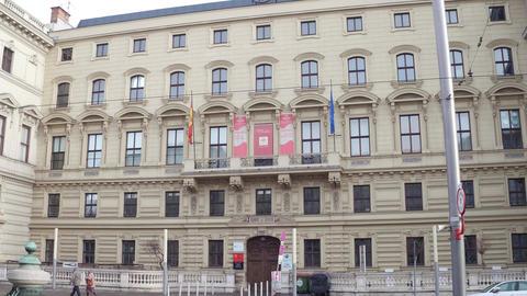 VIENNA, AUSTRIA - DECEMBER, 24 Tilt shot of Universal Music Austria office. 4K Footage