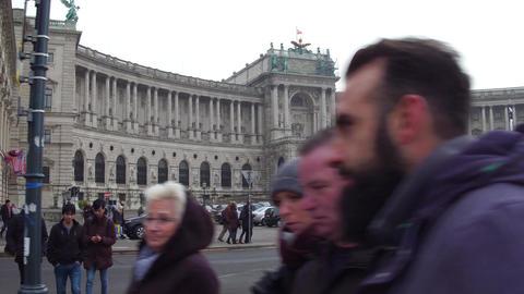 VIENNA, AUSTRIA - DECEMBER, 24 Steadicam shot of Austrian National Library on Footage