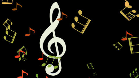 Musical background, white treble clef moving horizontal in swarm of yellow and Animation