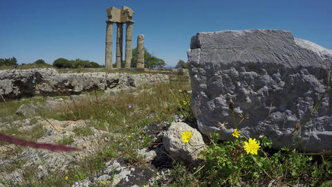 Rhodes historical city Apollo temple ruins columns in acropolis, Rhodes Footage