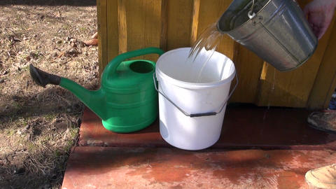 pour water in plastic bucket near well ライブ動画