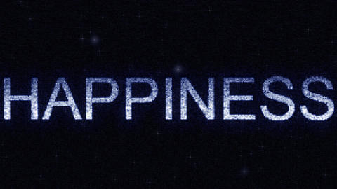 Media screen with glowing white and blue HAPPINESS inscription, loopable motion Footage