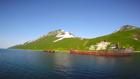 Graveyard of ships. Sea Safari journey along the Kamchatka Peninsula Footage