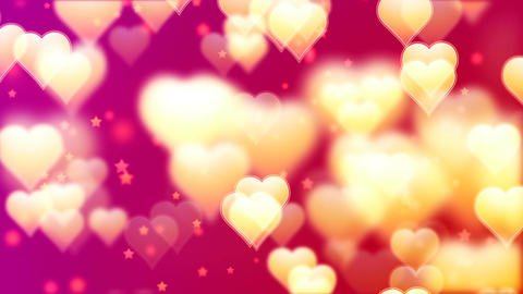 Flying Golden Hearts. Abstract Loopable Background Image