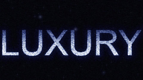 Media screen with glowing white and blue LUXURY inscription, loopable motion Footage