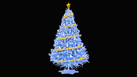 The rotation of the Christmas tree, the alpha channel CG動画素材