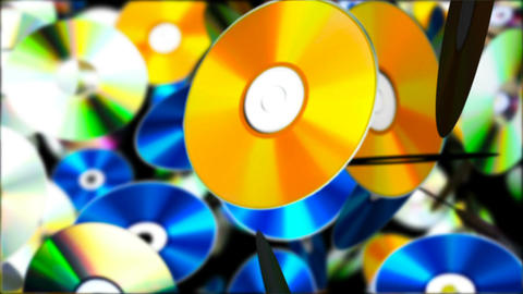 Falling Compact Discs. Abstract Loopable Background Animation