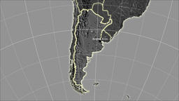 Argentina and neighborhood. Grayscale contrasted Animation